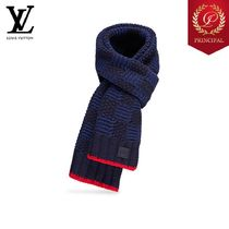 ◆Louis Vuitton ルイヴィトン Mens カシミア マフラー Navy Red