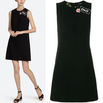 18SS DG1373 WOOL FLARE DRESS WITH APPLIQUE