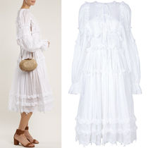 18SS DG1375 BALLOON SLEEVE RUFFLED MIDI DRESS