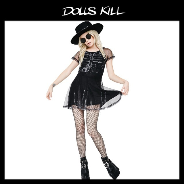 関税/送料込 *DOLLS KILL* BURNING OUT SKATER DRESS