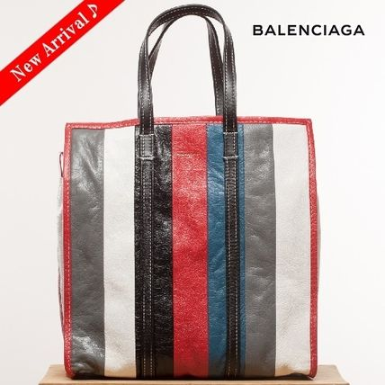 VIPセール♪BALENCIAGA Bazar Shopper M,Stripe Blue/Red/Multi