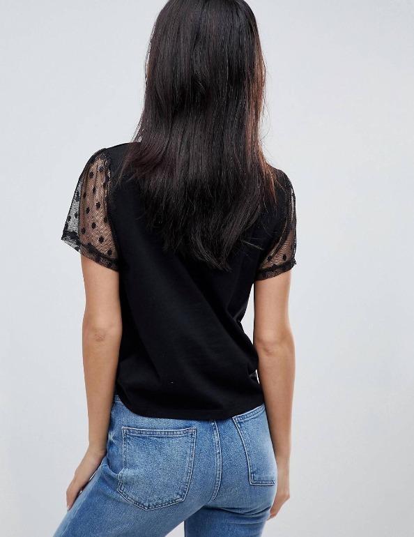 送料込み・日本未入荷 ASOS T-Shirt with Pretty Dobby Sleeve