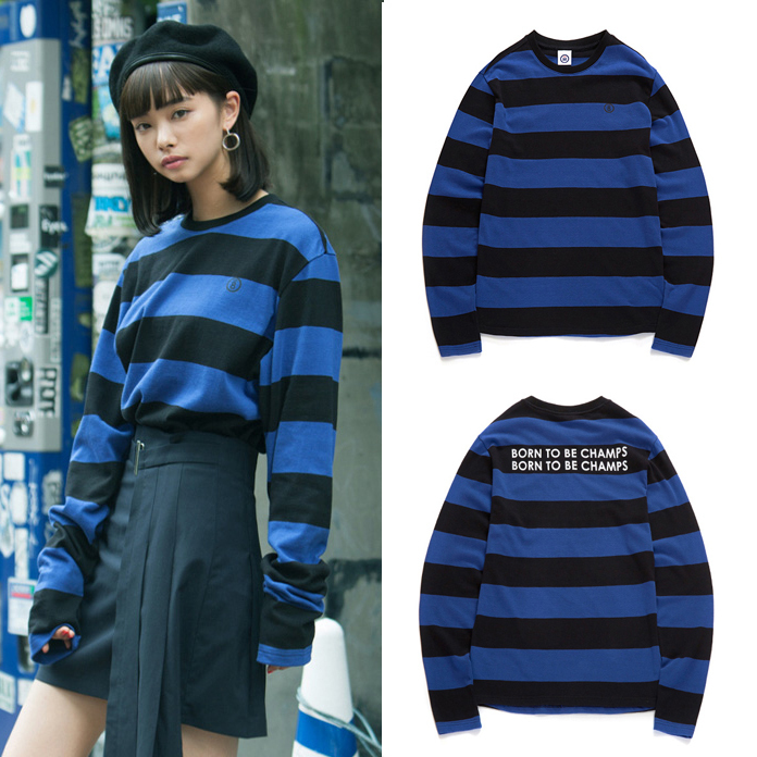 ★Born Champs★韓国 ユニセックス B WIDE STRIPE TEE BLUE