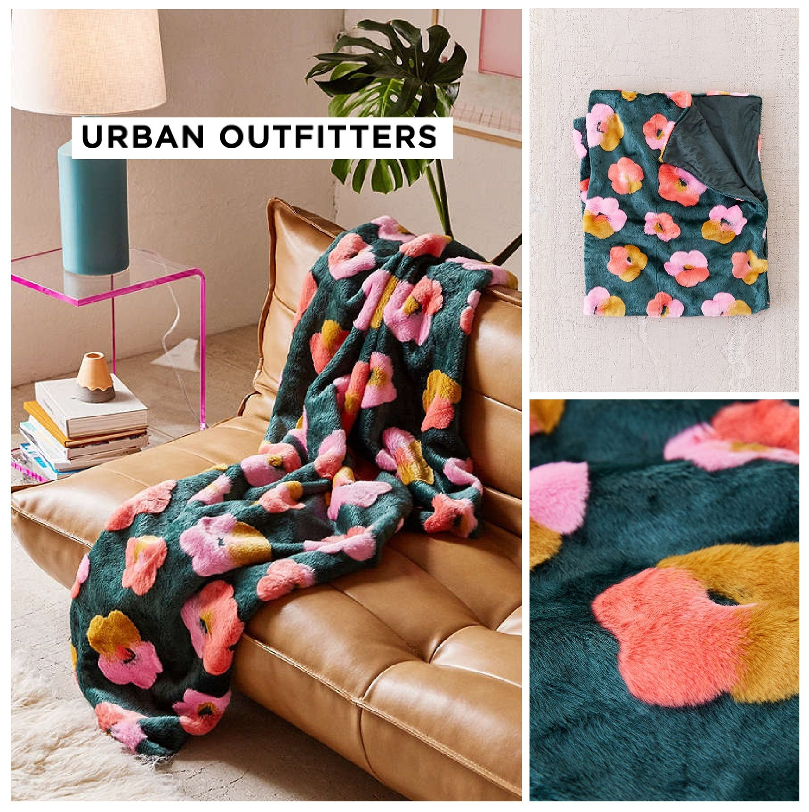 UrbanOutfitters☆Penny Floral Faux Fur Throw Blanket 税送込
