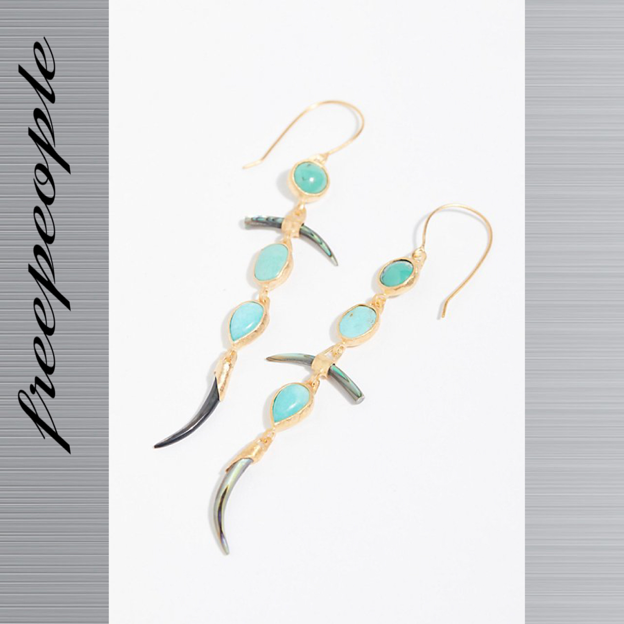 Free People フリーピープル Stone Abalone Horn ピアス