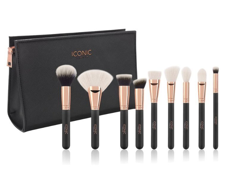 ICONIC LONDON・ COMPLETE FACE SET BLACK AND ROSE GOLD 9本