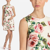 18SS DG1383 ROSE & BUTTERFLY PRINTED WOOL FLARE DRESS