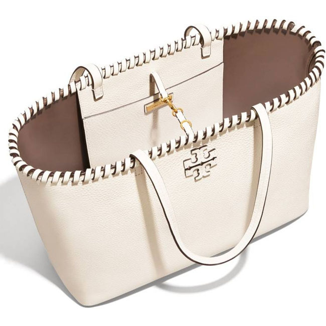 【 Tory Burch 】McGraw Whipstitchレザートート/New Ivory