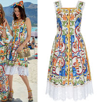 18SS DG1387 MAJOLICA PRINT COTTON MIDI DRESS WITH LACE TRIM