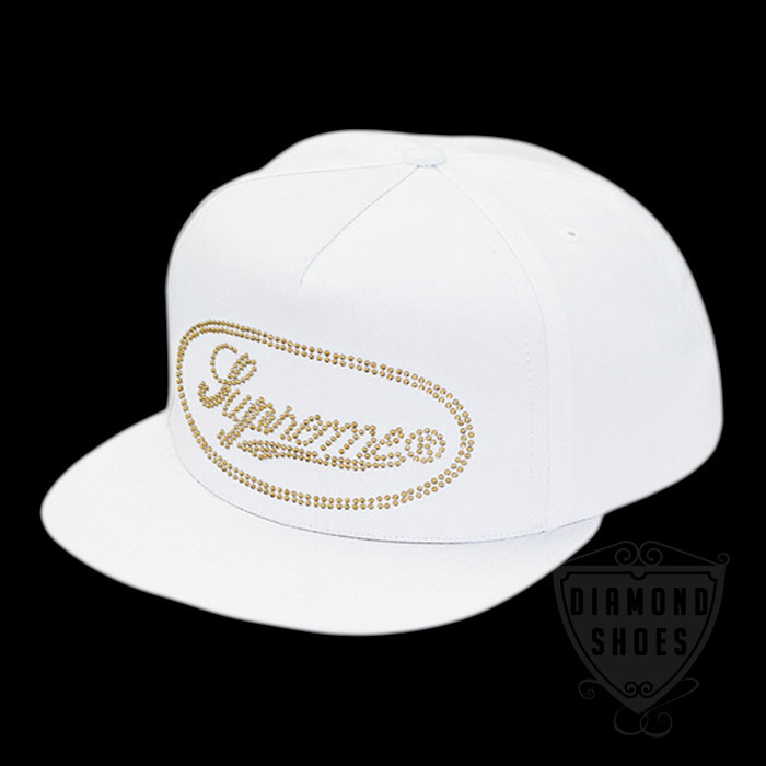FW17 SUPREME STUDDED SCRIPT LOGO 5-PANEL HAT CAP 送料無料