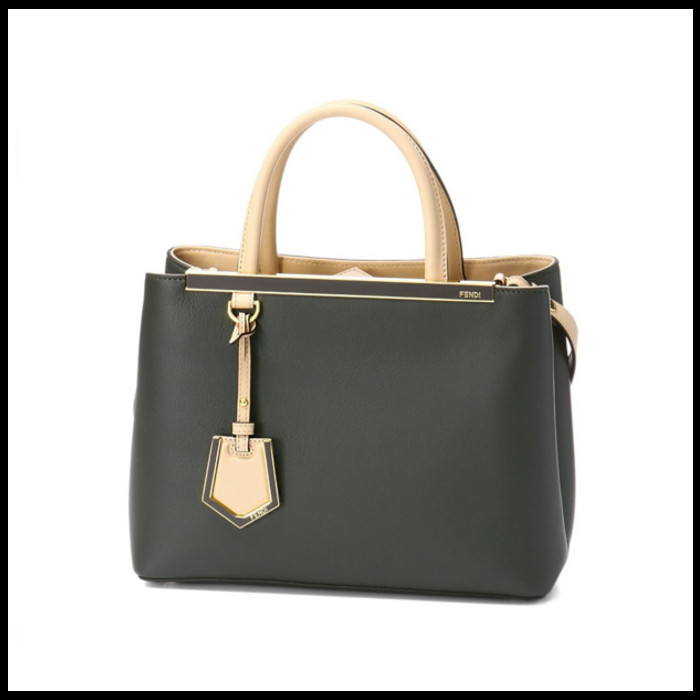 18SS ★FENDI★ calfskin petite 2jours bag VERDE P+MAKE UP+OS