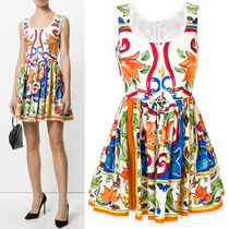 18SS DG1390 MAJOLICA PRINT COTTON MINI DRESS WITH LACE TRIM