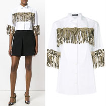 18SS DG1393 SEQUIN FRINGE EMBELLISHED COTTON BLOUSE