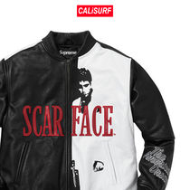 FW17 Supreme(シュプリーム)scarface embroidered leather jet/S
