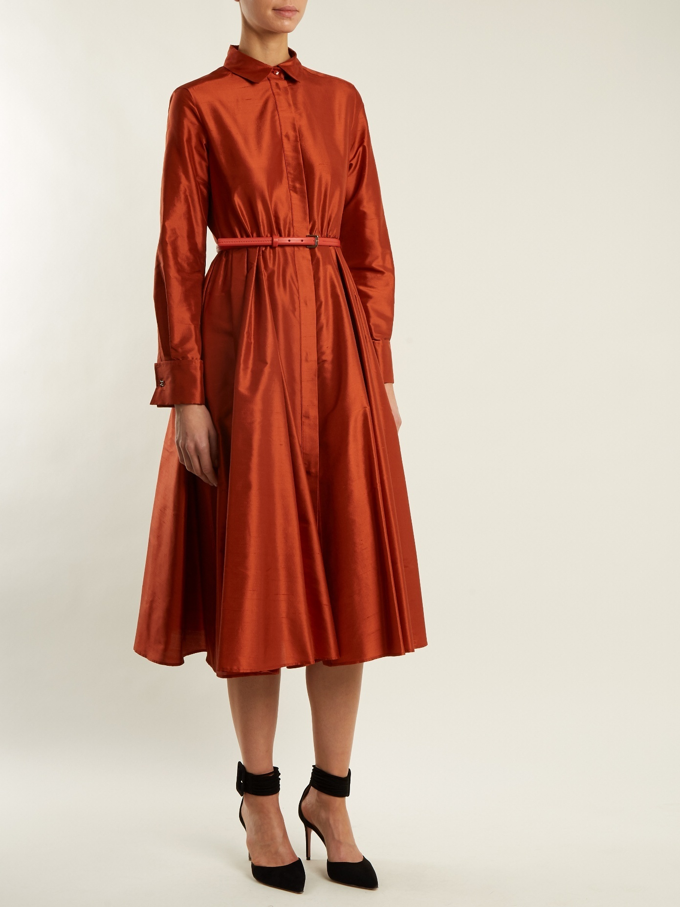 【国内発送】MAX MARA Fiorire dress Burnt-orange