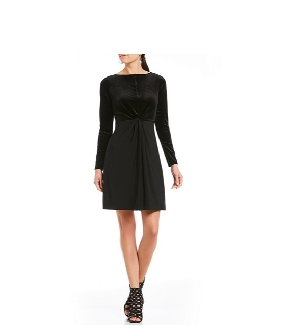 MICHAEL MICHAEL KORS Twist Velvet Long Sleeve Dress