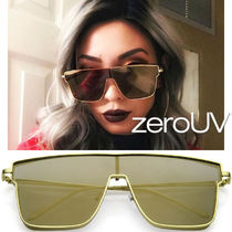 全4色*zeroUV*RETRO MODERN FLAT TOP MIRRORED LENS AVIATOR SUN
