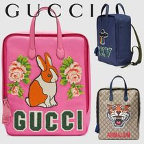 GUCCI◆ プリントキャンバスバックパック◆送料込