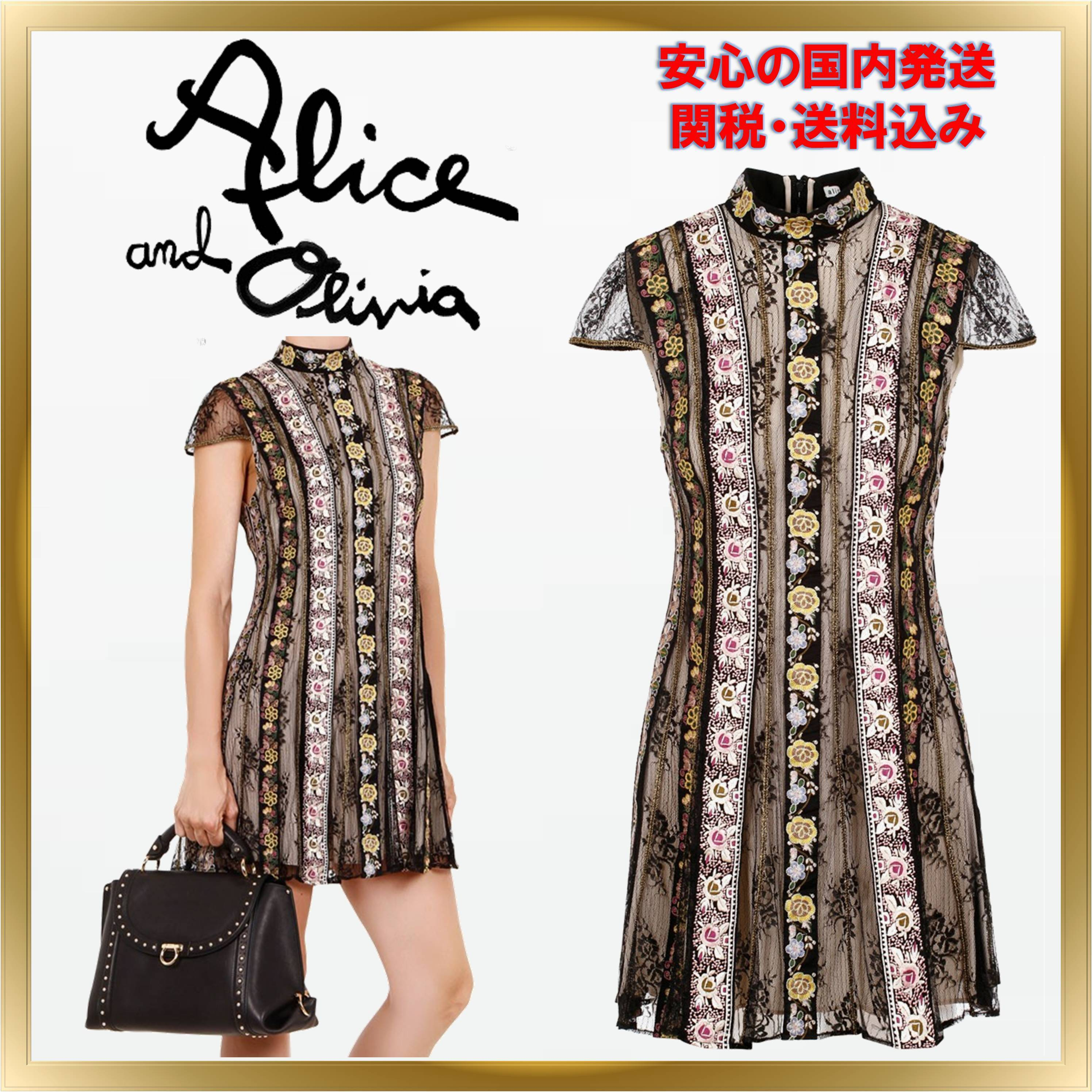 ◇Alice+Olivia◇ Gwyneth floral-embroidery shortdress 関送込