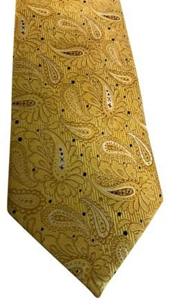 YSLサンローランネクタイ ペイズリー柄 Yellow Printed Silk Tie