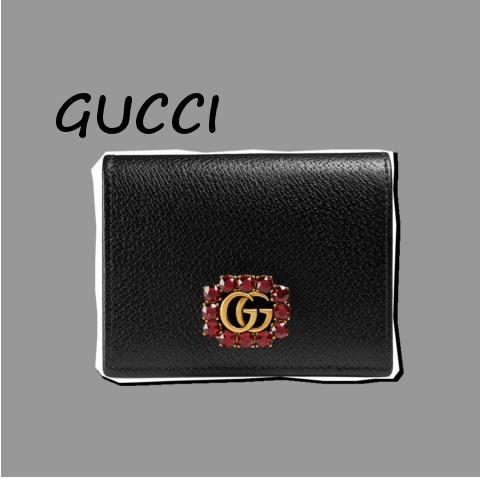 GUCCI  Leather with Double G and crystals二つ折り財布