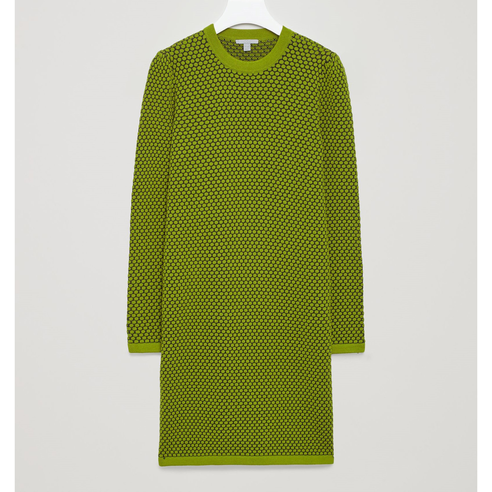 COS☆COTTON-JACQUARD DRESS / lime green