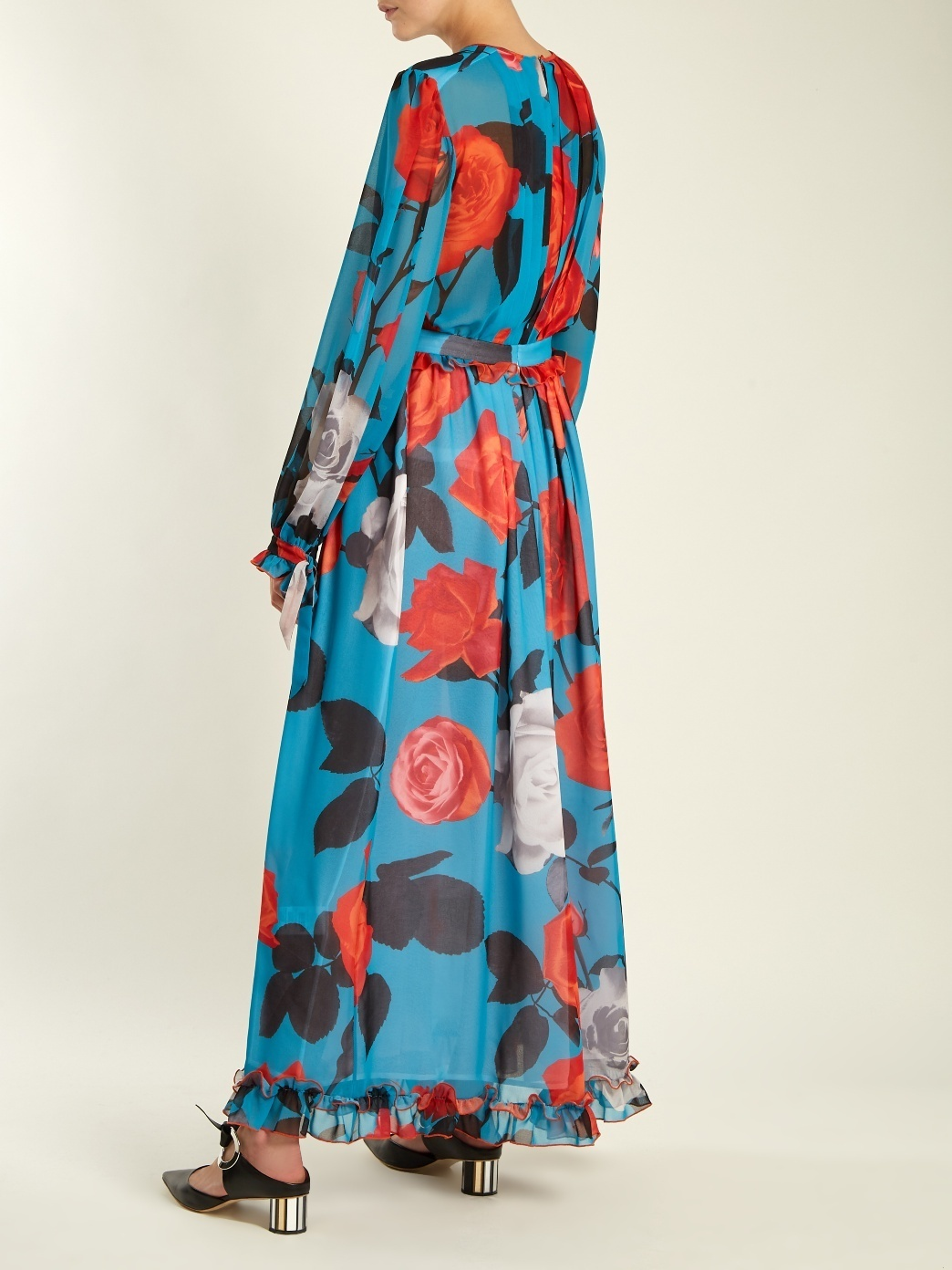Sale♡関税込【MSGM】Floral-Print Pleated Chiffon Dress