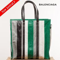 VIPセール♪BALENCIAGA Bazar Shopper M,Stripe Green Multi