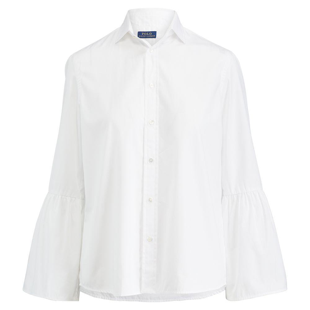 【シンプルなシャツ】Broadcloth Bell-Sleeve Shirt