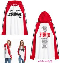 国内発送 H&M×PURPOSE TOUR Justin Bieber 長袖パーカー WH・RD