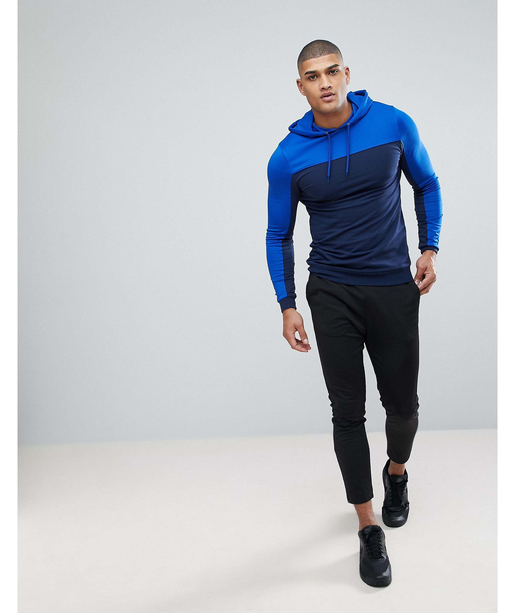 ★ASOS★ TALL Muscle パーカー  Poly Tricot  カラー ブロック