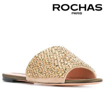 【18SS】大注目!!★Rochas★Point-toe sequin slipper shoes