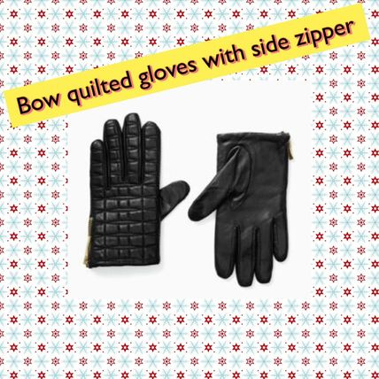 kate spade new york 手袋 kate spade/ 手袋 / Bow quilted gloves with side zipper