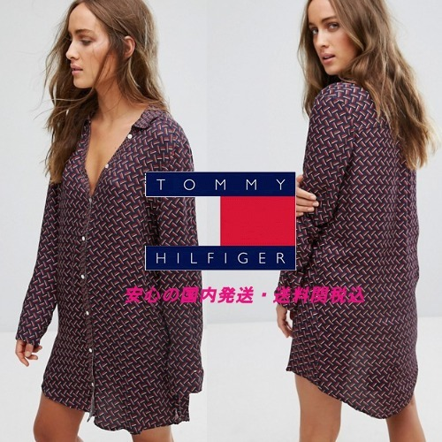 Tommy Hilfiger☆ Silky Woven Long Sleeve Nightdress♪