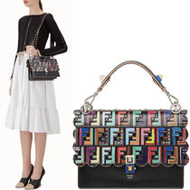 FE1848 MULTICOLOR FF LOGO EMBOSSED KAN I BAG WITH WAVY EDGE