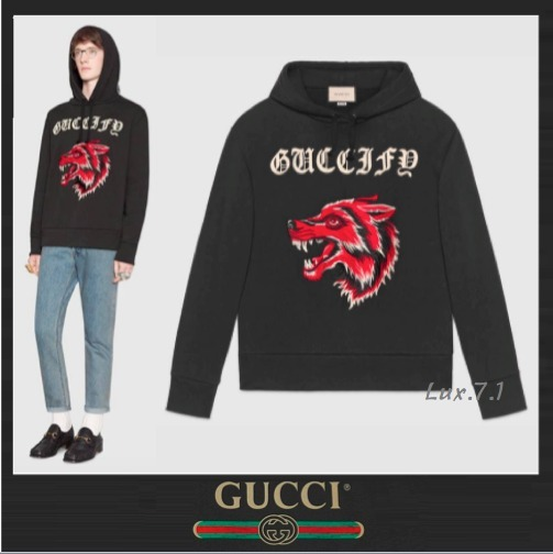 "【GUCCI】狼&""Guccify""のプリント★着心地抜群コットンパーカー"