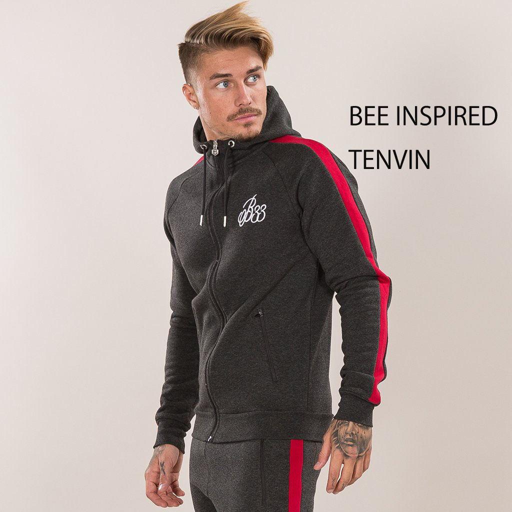 BEE INSPIRED★ Albans 2.0 Hoodie - Anthracite/Red 上下セット