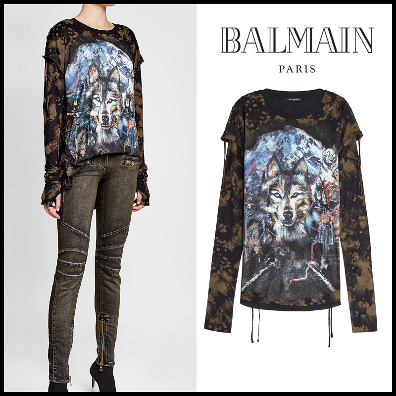 BALMAIN(バルマン)★Printed Jersey Top with Lace-Up Detail