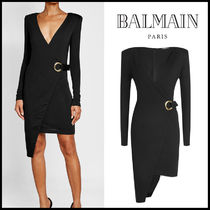 BALMAIN(バルマン)★Asymmetric Wool Dress with Eyelets