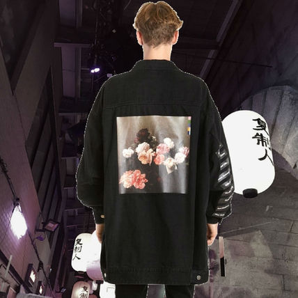 "**RAF SIMONS**2018SS""OVERSIZED PRINTED COTTON DENIM JACKET"