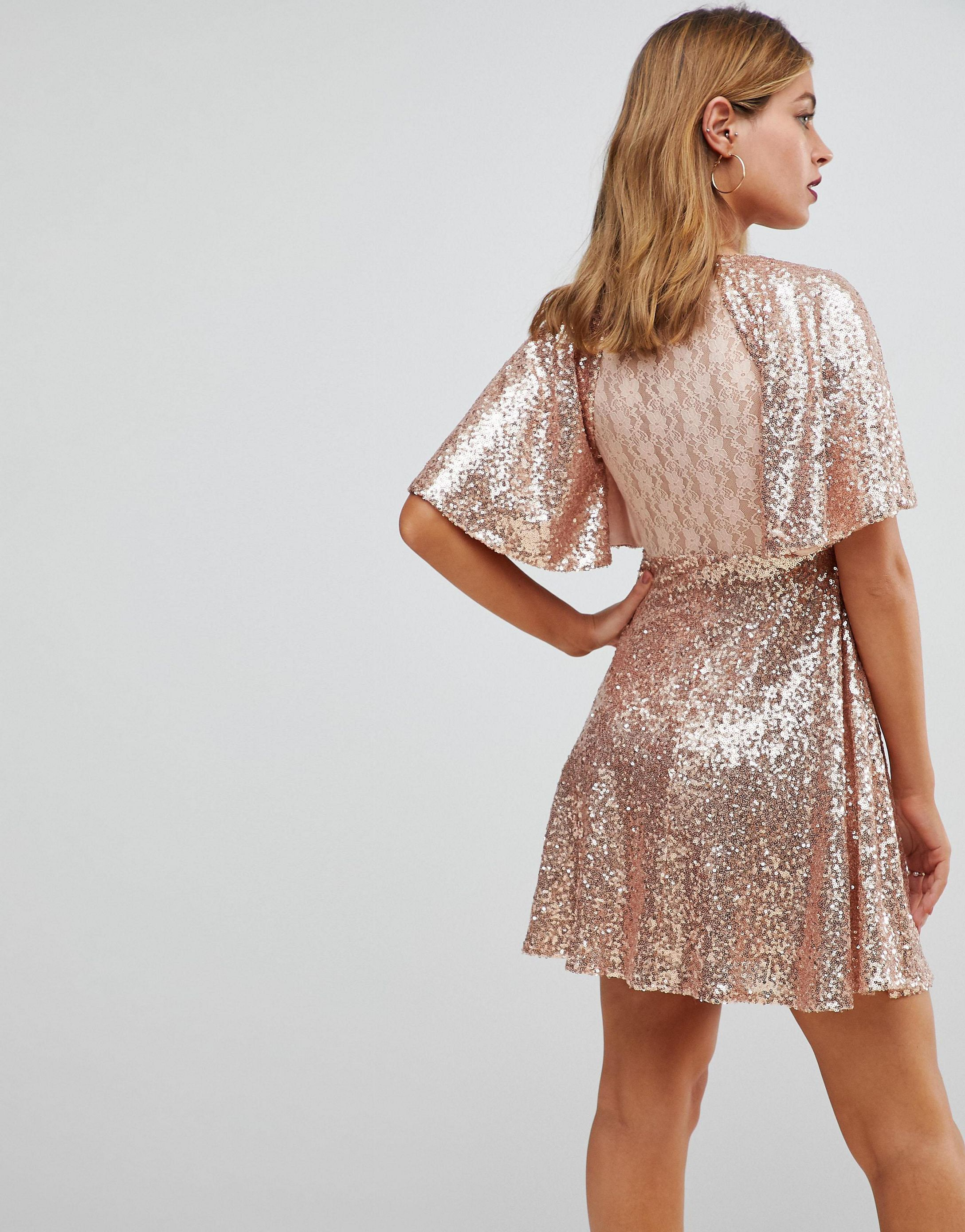 ★ASOS★ PETITE Sequin Fluted スリーブ Lace ミニ ワンピース