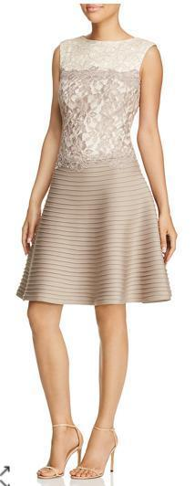 Sleeveless Color Block Lace & Pintuck Fit and Flare