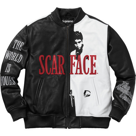 17A/W Supreme Scarface Embroidered Leather Jacket