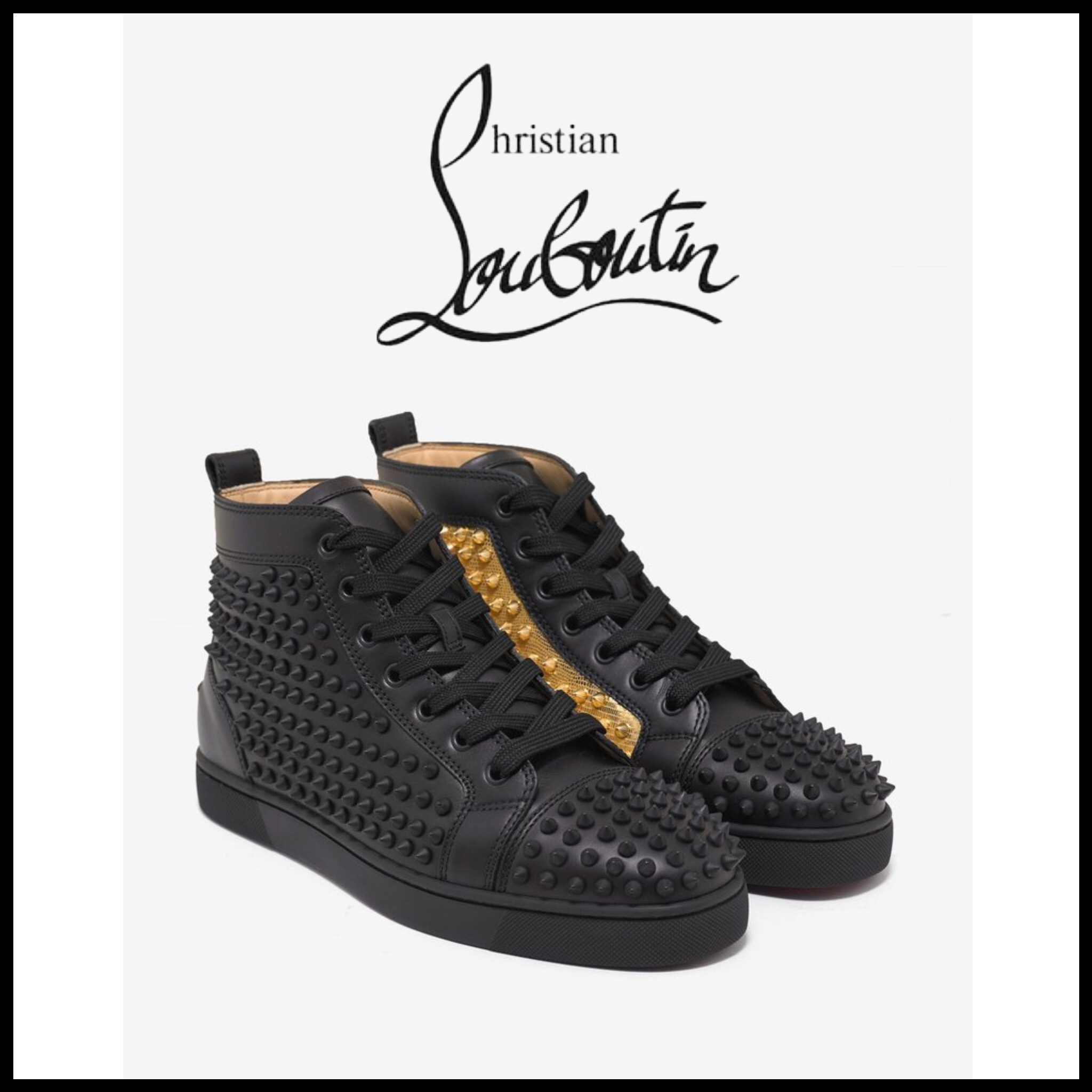Louboutin☆Yang Louis Flat High Top Trainers with Gold Panel