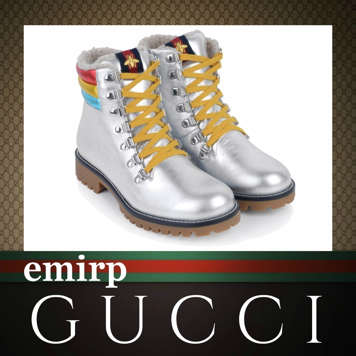 GUCCI★大人もOK☆メタリックレースアップブーツ★