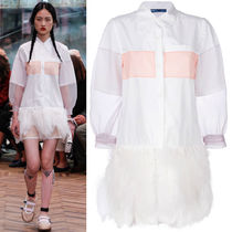 PR924 LOOK6 COTTON & CIGALINE SHIRT DRESS WITH FEATHER TRIM