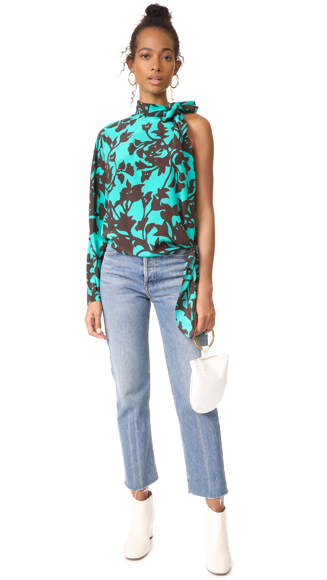 DVF One Shoulder Knotted Blouse