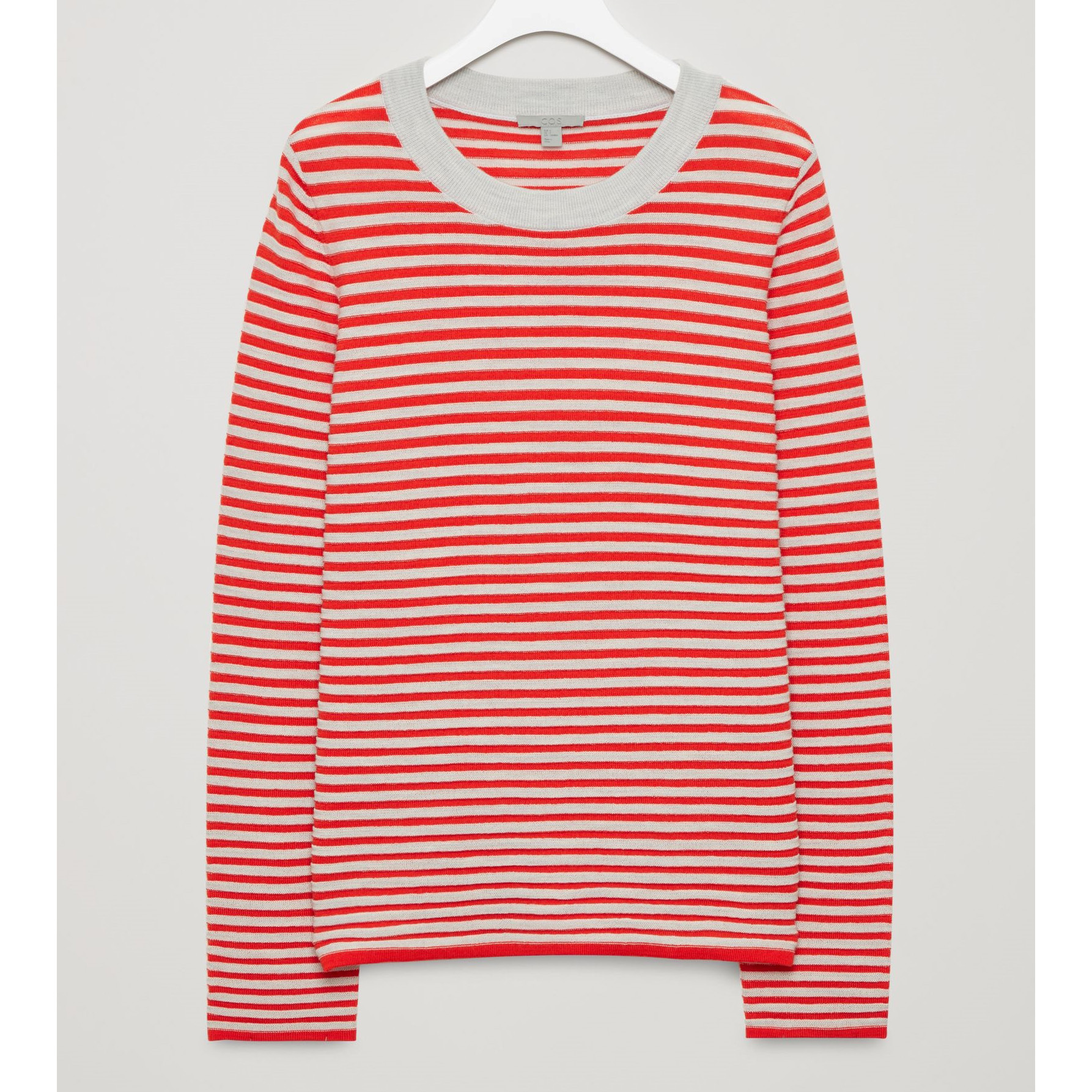 COS☆STRIPED FINE-KNIT TOP / grey