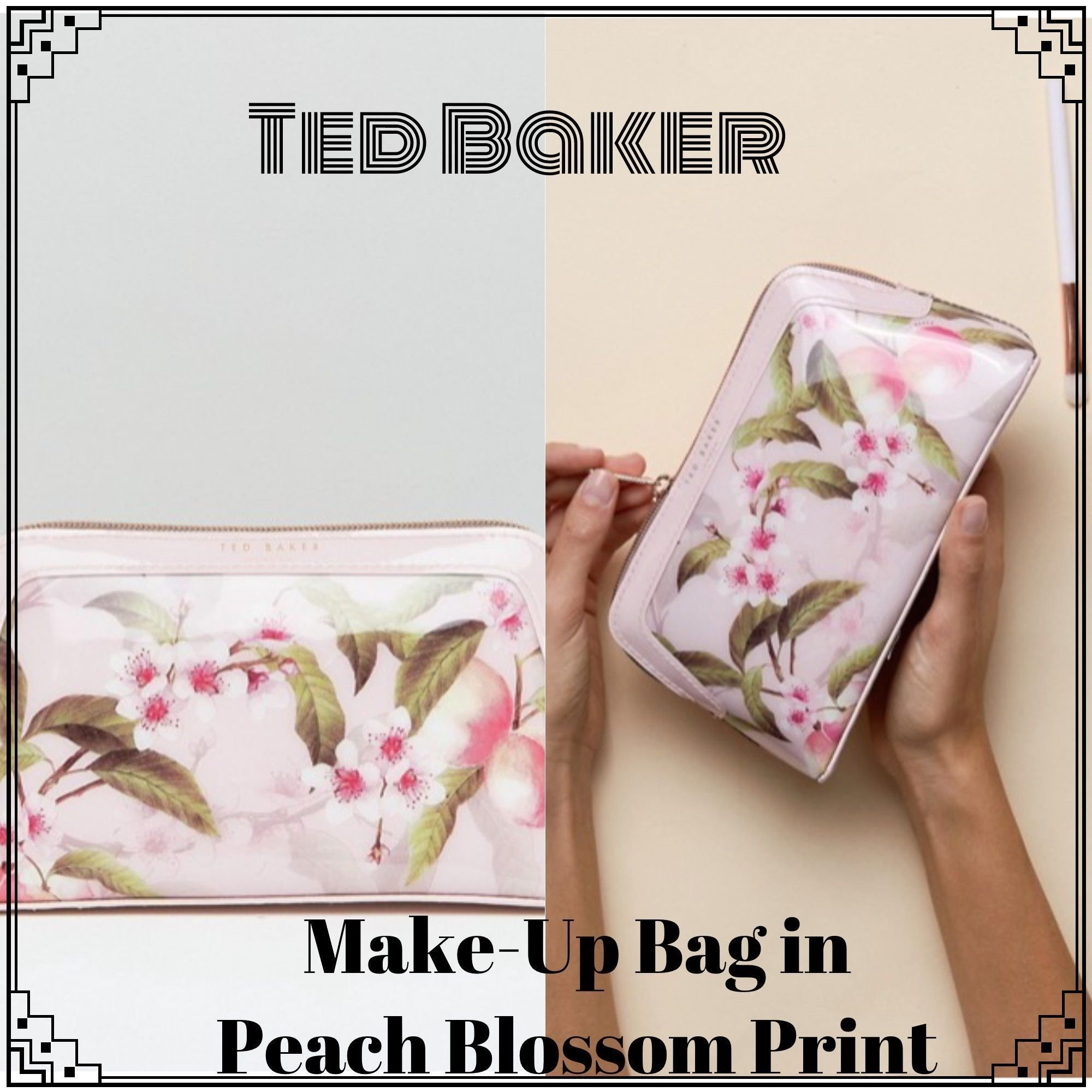Ted Baker☆メイクアップバッグ桃の花のプリント