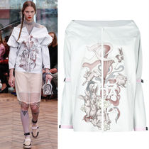 PR939 LOOK24 RABBIT & LILY PRINTED OFF SHOULDER JACKET